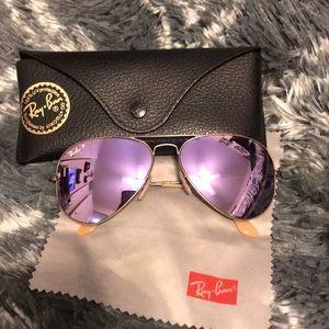 Polarized ray ban aviators purple mirror